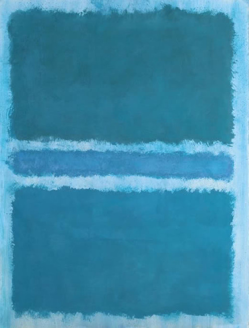 A painting that is almost entirely a deep turquoise blue, divided by a horizontal line of lighter blue in the middle